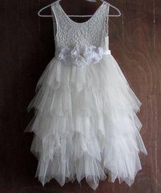 White flower girl dressWhite lace dressWhite tutu