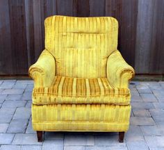 "32"" wide, 25"" tall, and 36"" deep Happy Vintage Yellow Arm Chair - $85 (Bel Air)"