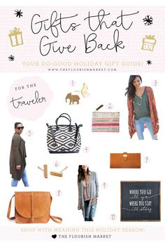 Gifts that Give Back for the Traveler  (and 8 Other Gift Guides for Every Lovely Lady on Your List!).  Use Your Purchasing Power for Good this Holiday Season!  #giftsforher #giftsthatgiveback #uniquegifts #giftguide