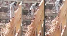 Trabalhador Usa a Mais Extrema Técnica Para Demolir Edifício