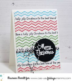 Holly Jolly Borders stamps by CAS-ual Fridays Stamps made this darling background! Looks like pattern paper! Stamp Making, Card Making, Die Cut Cards, Happy Sunday, Pattern Paper, Christmas Cards, Merry, Projects, Stamps