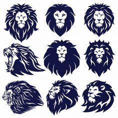 Find Lion Logo Set Collection Vector Design Illustration stock vectors and royalty free photos in HD. Lion Tattoo Design, Lion Design, Tribal Lion Tattoo, Lion Vector, Vector Art, Vector Graphics, Beard Logo, Lion Drawing, Lion Logo