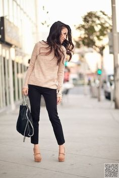 Dress up a casual sweater with skinny ankle pants and wedges. Perfect outfit for class.