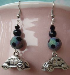 VW Beetle Ball Earrings