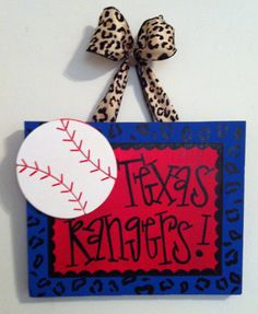 Texas rangers baseball wooden sign or door hanger by Sparkologie, $25.00