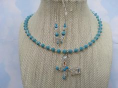 Turquoise & Swarovski crystal wrap, butterfly necklace ,earring set !