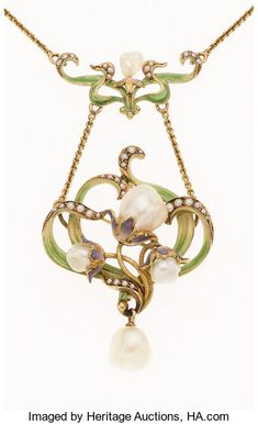 Art Nouveau Freshwater Pearl, Seed Pearl, Enamel, Gold Necklace...sold $2,125