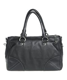 Look at this #zulilyfind! Black Corner-Patch Leather Satchel by Bellini #zulilyfinds
