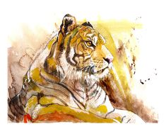 Tiger art tiger painting mixed media painting by TheCeruleanRoom, $20.00