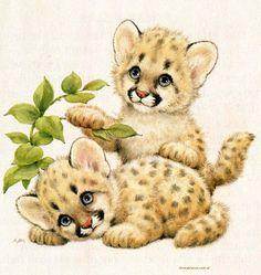 el puma fue extinguido en la parte oriental de América del Norte, con excepción del caso aislado de una subpoblación en la Florida Baby Animal Drawings, Cute Drawings, Baby Animals, Cute Animals, Baby Leopard, Cute Animal Pictures, Cute Illustration, Animal Paintings, Cat Art