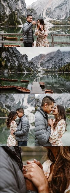 Secret proposal and engagement photos on Lago di Braies in the Italian Alps. Photos by Wild Connections Photography. Proposal Photography, Wedding Photography Poses, Wedding Poses, Wedding Couples, Wedding Ideas, Wedding Inspiration, Surprise Engagement Photos, Surprise Proposal, Proposal Pictures