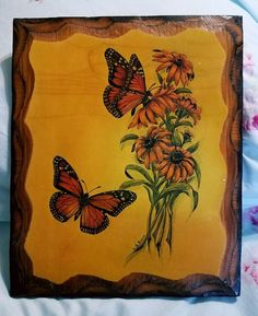 """Vintage Butterflies/Flowers Wood Wall Hanging Plaque by Gail Brown 11.5""""× 9.5"""" 
