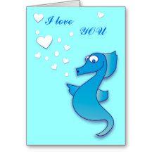 Cute Seahorse I love you Greeting Card