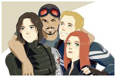 Bucky is all 'I don't really do hugs anymore, but I'm trying..'