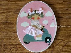 Placa infantil para puerta modelo niña con vespa sobre fondo rosa (7,95 €). Realizada con madera de forma artesanal. http://www.mantelesyregalos.com/placas-para-puertas/3110-placa-infantil-puerta-nina-con-vespa-fondo-rosa.html