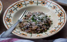 Farro Risotto (Farritto) with Radicchio, Mushrooms, and Bacon