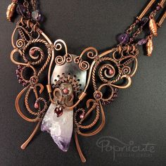 Butterfly and Cocoon Wire Wrapped Pendant Necklace
