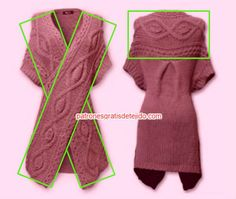Franja tejida para chaleco dos agujas Crochet Woman, Knit Crochet, Baby Cardigan Knitting Pattern Free, Black Crochet Dress, Knitwear Fashion, Knit Wrap, Knitting Accessories, Crochet Fashion, Knitting Designs