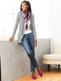 Mixed-Cable Cocoon Cardigan - Talbots