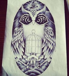 An owl and key design