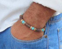 Men's bracelet, men's surfer style bracelet, men's wood bracelet, turquoise beads, brown wood beads, jewelry for man, gift for him, stretch