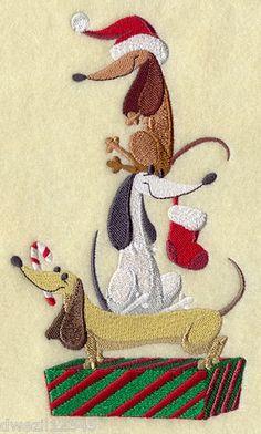 Christmas Weiner Dog | DECK THE HALLS DACHSHUND DOG CHRISTMAS STACK- ... | Bathroom Hand Tow ...