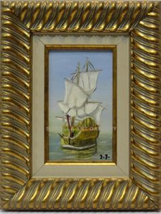 Isabel Yllescas : Boat. Medium: Oil on wood Measurements (cm): 35x27 Canvas measurements (cm): 20x12 Interior frame: Yes. Economic and very decorative oil painting. Ideal for decorating corridors and small spaces.  $54.49