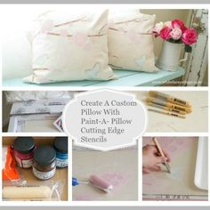 create a custome pillow with paint-a-pillow cutting edge stencils white lace cottage