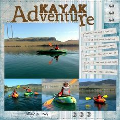 Kayak Adventure digital photo book / scrapbook page; Software: Storybook Creator by Creative Memories; Artwork: Great Escapes, Office Supplies - silver, Hardware - silver, Sewing Room Stitches; Fonts: dearJoe4, Forever Black; Details and Instructions: http://www.mycmsite.com/sites/cathywallin/Content/Shop/Catalog.aspx?search=great%20escapes