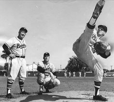Warren Spahn (most likely).  Those old pitching windups look so animated.  This might be appropriate for one of my dancing boards.  #baseball #braves