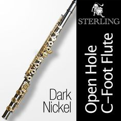 Dark Nickel and Gold OHC Flute • STERLING Open Hole C Flute • 16 keys • New •