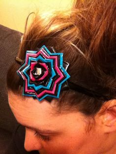 Items similar to Duct Tape Flower headband on Etsy Duct Tape Projects, Duck Tape Crafts, Kid Crafts, Craft Projects, Tape Art, Duct Tape Jewelry, Duct Tape Flowers, Rainbow Loom, Diy Hairstyles