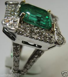 Colombian Emerald & Diamond Engagement Ring Solitaire 18K E-10.12CT D-3.40CT Fine Jewelry