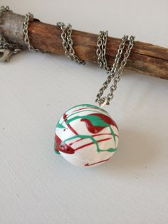 White/Red/Turquoise Handpainted clay bubble by sweetstellas, $20.00