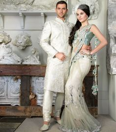 Modern print brocade detailed with silver piping and gold and silver zardosi and diamante work
