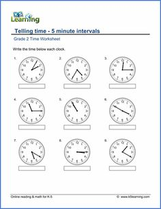 Grade 2 telling time Worksheet on telling time - 5-minute intervals