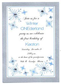 Sample Invite for winter onederland