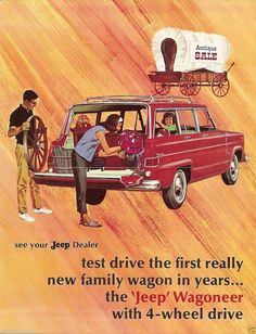 """""""Test drive the first really new family wagon in years!"""" 1964 Kaiser Jeep Wagoneer"""