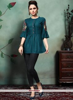 Enhance Your Personality Wearing This Designer Readymade Top In Teal Blue Color Fabricated On Rayon. This Pretty Top Is Beautified With Contrasting Colored Thread Work Over The Sleeves. Stylish Dresses For Girls, Stylish Dress Designs, Frocks For Girls, Designs For Dresses, Simple Dresses, Short Kurti Designs, Simple Kurti Designs, Kurta Designs Women, New Kurti Designs