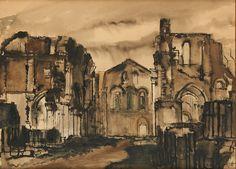 Paul Delvaux (Belgian, 1897-1994), Vue des ruines de l'Abbaye d'Orval, 1933.