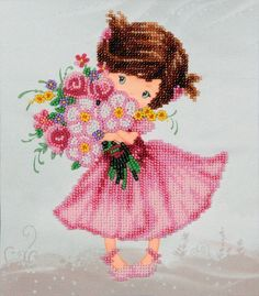 """Embroidery – Beads embroidery kit """"Girl with a bunch"""" 18x21 – a unique product by VDV_Kiev on DaWanda"""