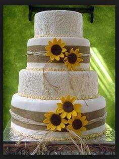 Beautiful sunflower, lace, and burlap cake :)