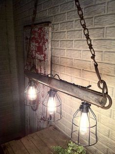23 Shattering Beautiful DIY Rustic Lighting Fixtures to Pursue In moments of need things change, coz Farmhouse Lighting, Rustic Lighting, Home Lighting, Lighting Ideas, Antique Lighting, Industrial Lighting, Track Lighting, Rustic Light Fixtures, Rustic Lamps