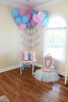 Cinderella's Royal Corner from a Princess Cinderella Birthday Party via Kara's Party Ideas   KarasPartyIdeas.com (17)