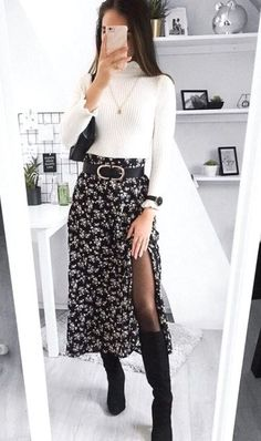 Whats your favorite layering piece Shop 'SHEIN Ditsy Floral Print Wide Band Waist High Split Skirt' link in bio. Winter Fashion Outfits, Look Fashion, Fall Outfits, Autumn Fashion, Womens Fashion, Night Outfits, Skirt Fashion, Grunge Fashion Winter, Winter Night Outfit
