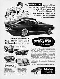 1/8th scale Corvette Stingray Model Kit by Monogram (1965)