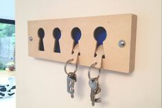 Birch faced ply Key Rack van Blueprintjim op Etsy, £20.00