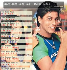 Piano, Keyboard, Violin, Flute notes, Guitar Tabs and Sheet Music of the Song Tum Paas Aaye (Title Song) from the 1998 Hindi movie Kuch Kuch Hota Hai in Western and Indian Notations. Piano Sheet Music Letters, Piano Music Easy, Piano Music Notes, Flute Sheet Music, Sheet Music Book, Keyboard Notes For Songs, Song Notes, Keyboard Lessons, Harmonica Lessons