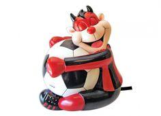 TIF8 LAMPADA RESINA ROSSO/NERI  Lampada in resina a forma di palla da calcio con Diavoletto Forza Rossoneri che l'abbraccia, color rosso nero