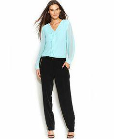 Calvin Klein Ruffle-Front Blouse & Straight-Leg Pants